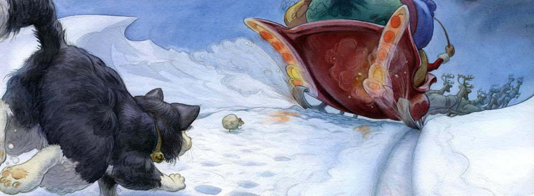 page from book showing a cat chasing a mouse chasing Santa's sleigh