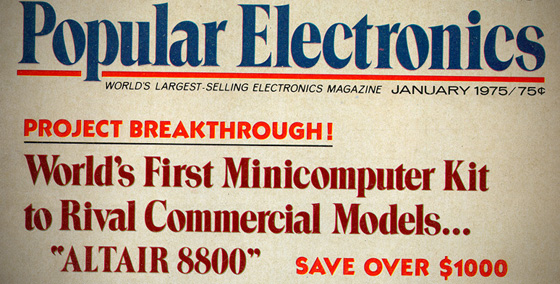 1975 Popular Electronics magazine touts the first minicomputer